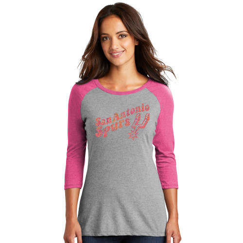 San Antonio Spurs Women's Titania Golf  80's Vibe Long Sleeve Raglan T-Shirt