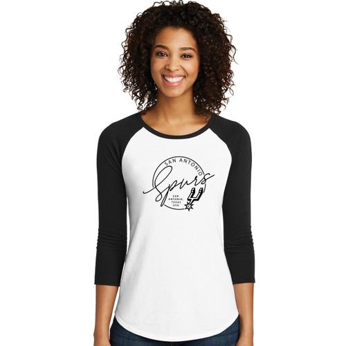 San Antonio Spurs Women's Titania Golf Fashion Circle Script Raglan T-Shirt