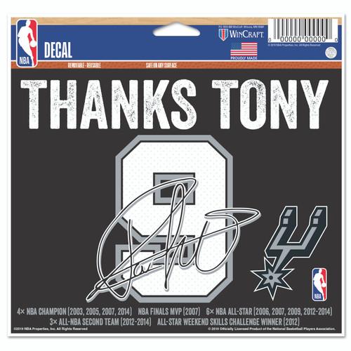 San Antonio Spurs WinCraft Thanks Tony 4x6 Decal