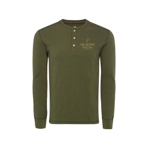 San Antonio Spurs Sportiqe Men's Grant Longsleeve Henley Shirt - Green Cotton Slub shirt with 3 button henley placket