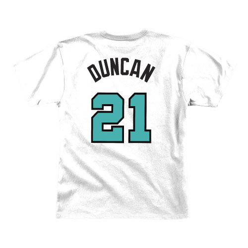 San Antonio Spurs Men's Mitchell And Ness Tim Duncan Name and Number T-shirt - White