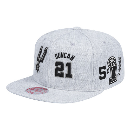 San Antonio Spurs Men's Mitchell And Ness Duncan Name and Number Snapback Hat