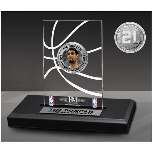 San Antonio Spurs Highland Mint Tim Duncan Acrylic Desktop Coin Display