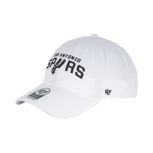 San Antonio Spurs Men's 47 Brand Wordmark Clean Up Hat - White