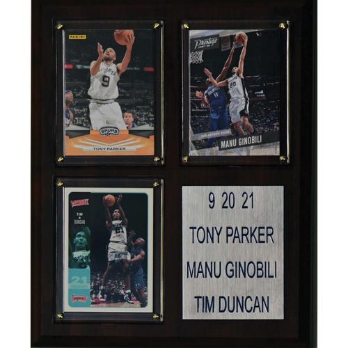 San Antonio Spurs Big Three Day 9-20-21 Commemorative 3 Card Plaque