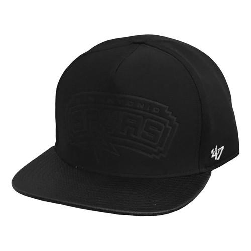San Antonio Spurs 47 Brand Flat Brim Heist Strapback Cap - Black