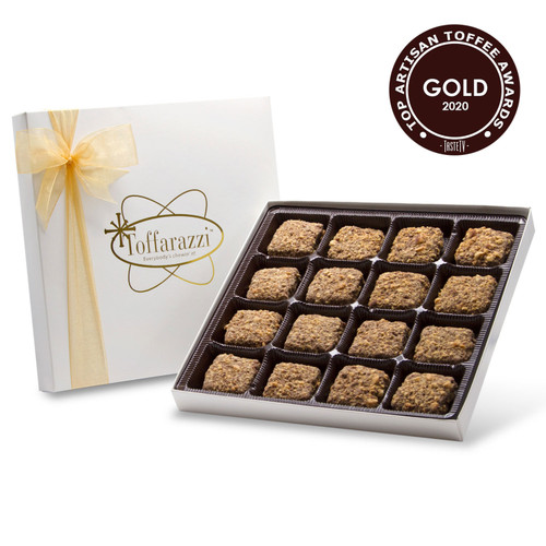 Gold Medal Toffee Winner at the International Chocolate Salon 2020 Toffee Awards for overall Top Toffee & Best Taste, and Silver Medal for Best Texture