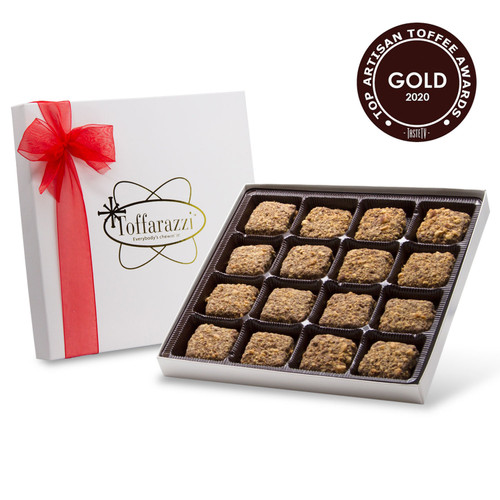 5-Star Toffee named Top Toffee and Best Taste at the International Chocolate Salon 2020 Toffee Awards. White Gift Box with Red Bow for Valentine's Day Chocolate Gift.