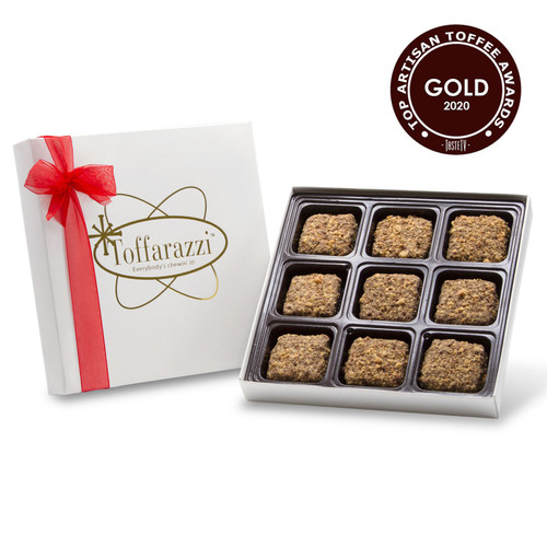Toffarazzi - 1/2lb Toffee Box holds 9 pieces of toffee in a white gift box with red ribbon, won Gold for Top Toffee and Best Taste