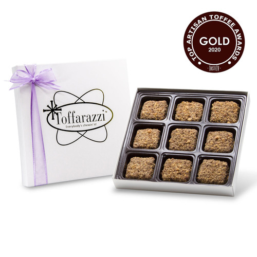 Toffarazzi - 1/2lb Toffee Box holds 9 pieces of toffee in a white gift box with purple ribbon