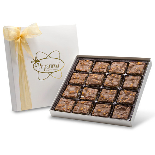 Milk Chocolate Poparazzi - 16 pieces of chocolate caramel popcorn candy in a white box with gold ribbon