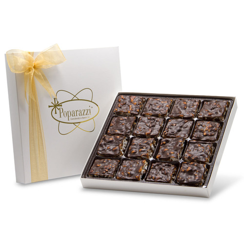 Dark Chocolate Poparazzi - 16 pieces of dark chocolate popcorn candy in a white box with gold ribbon