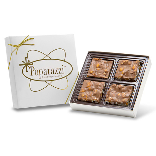 Milk Chocolate Poparazzi - 4 pieces of chocolate popcorn candy in a white gift box with a gold bow