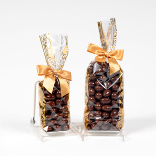 Milk chocolate covered almonds in a half pound bag or full pound bag