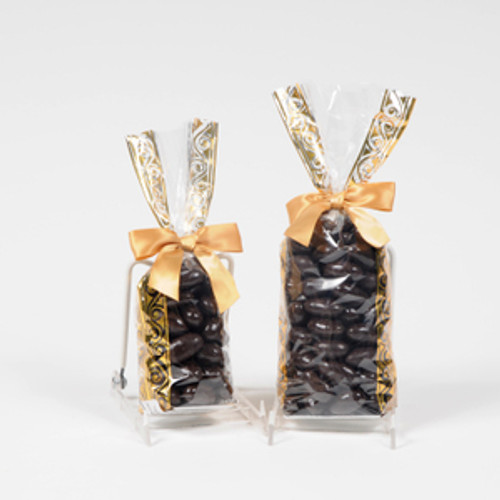 Dark chocolate covered almonds in a gold and clear gift bag in half pound or one pound size