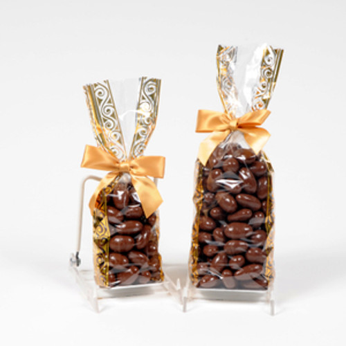 Half and full pound bags of sugar free milk  chocolate covered almonds.