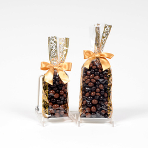 Half and full pound gift bags of milk chocolate and dark chocolate covered coffee beans.