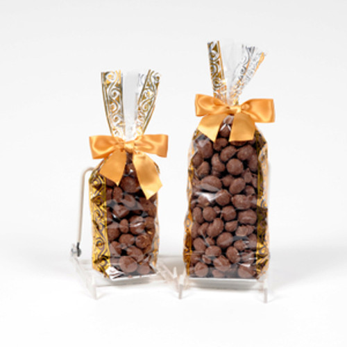 Half and full pound bags of double dipped chocolate peanuts.