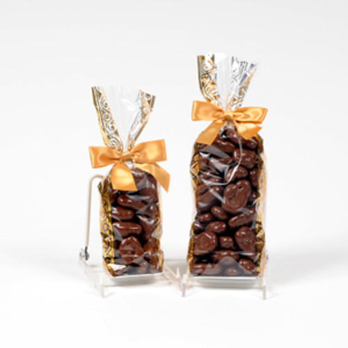 Half and full pound bags of milk chocolate covered pecans.