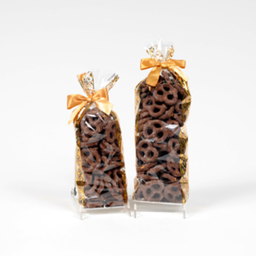 Half and full pound bags of milk chocolate covered pretzels.