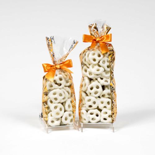 Half and full pound bags of white chocolate pretzels or white yogurt pretzels.