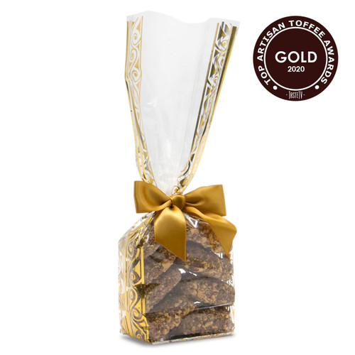 Award-Winning Toffarazzi Toffee in a Holiday Gift Bag - Won Gold for overall Top Toffee and Best Taste at the 2020 International Chocolate Salon Toffee Awards
