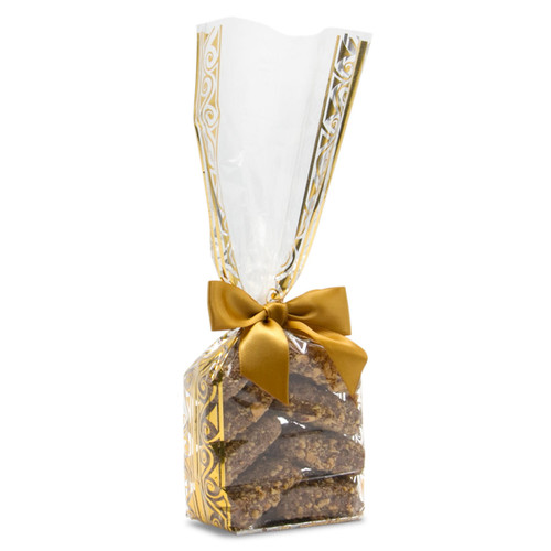 Toffarazzi - 8 pieces of the best toffee in a clear and gold bag with a gold ribbon. Milk Chocolate almond toffee made in Houston.