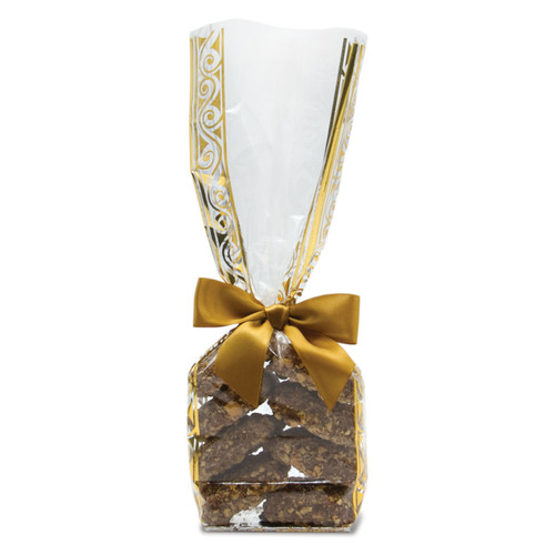 ... Toffarazzi - 8 pieces of toffee in a clear and gold bag with a gold ribbon