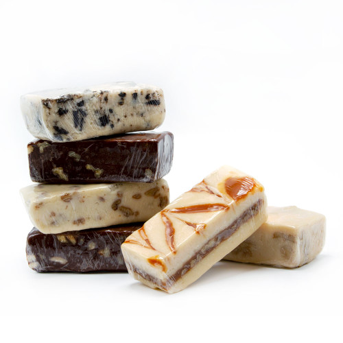 Homemade fudge in a variety of flavors, typically sold by 1/2 lb bars