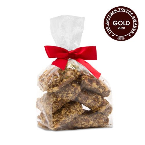 Award winning Toffarazzi in a small gift bag. Won Gold at the International Chocolate Salon 2020 Toffee Awards for overall Top Toffee and Best Taste