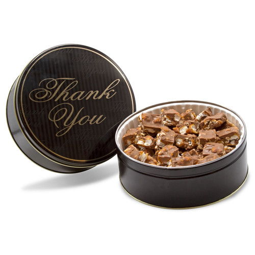 Milk Chocolate popcorn candy Poparazzi bite size pieces in a black and gold Thank You Gift chocolate tin