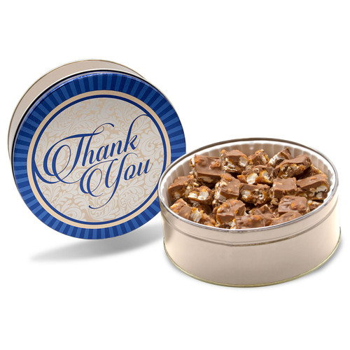 Milk Chocolate popcorn candy Poparazzi bite size pieces in a blue and gold Thank You Gift chocolate tin