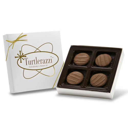Turtlerazzi - 4 pieces of milk chocolate turtles in a white gift box with a gold ribbon