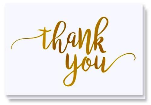 """Gift Message Card - Thank You - Folded Notecard 4"""" x 6"""" - Handwritten gift message written inside"""