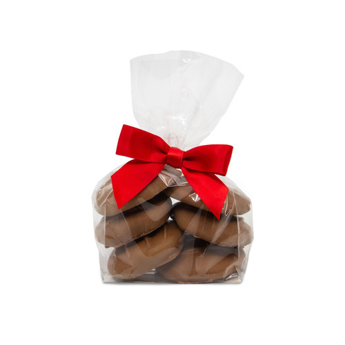 Caramel Pecan Clusters in a holiday gift bag - Turtlerazzi Turtles