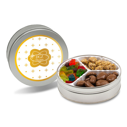 Variety Trio Holiday Candy and Chocolate Tin - Milk Chocolate Pecans, Toffee, and Gummi Bears