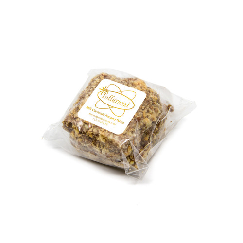 Toffarazzi Toffee favor with 2 pieces of milk chocolate almond toffee and a branded label