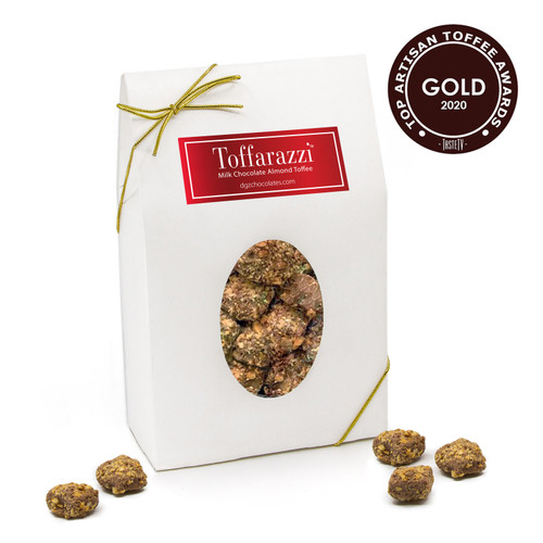 The best toffee awarded Gold for Top Toffee and Best Taste at the International Chocolate Salon 2020 Artisan Toffee Awards. Presented in a 1lb gift box with bite-size pieces