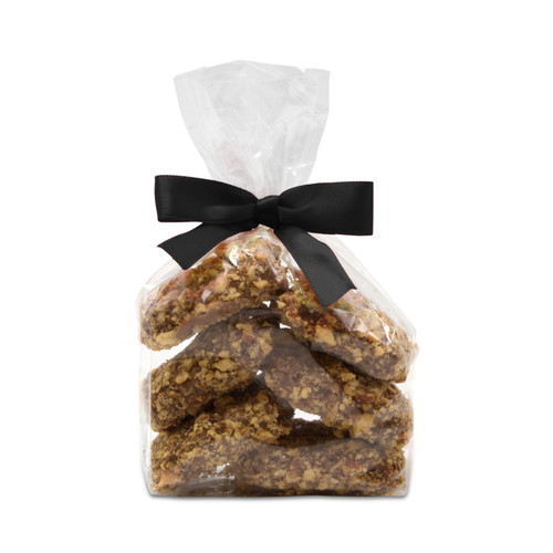 Award-winning Toffarazzi toffee in a small chocolate gift bag with a classy black bow