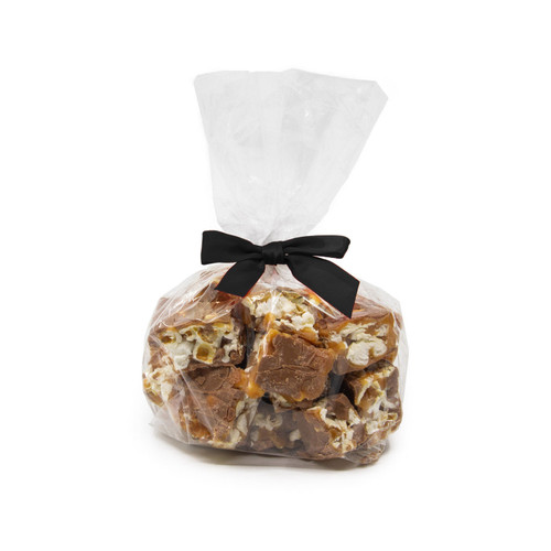 Milk Chocolate Poparazzi Gift Bag with Spring classy Black Bow - Small Chocolate Covered Popcorn Gift Bag