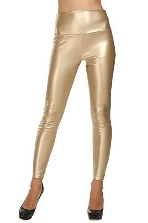 Gold leather faux leggings