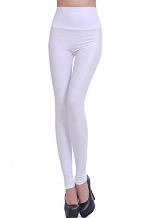 White Leather Effect High Waisted Legging