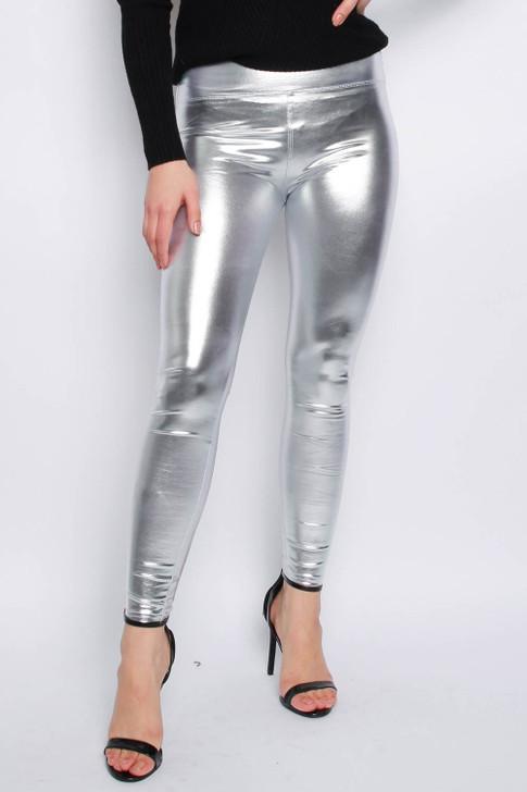 Women's Silver Metallic Leggings