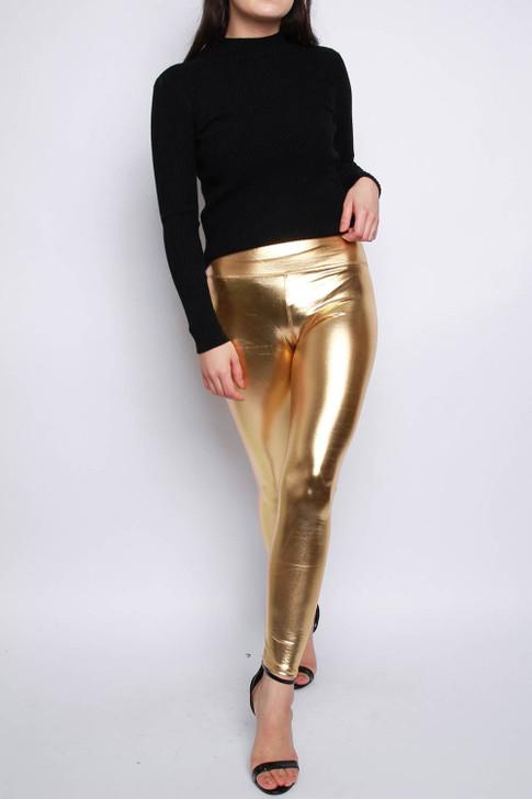 Gold Metallic Leggings