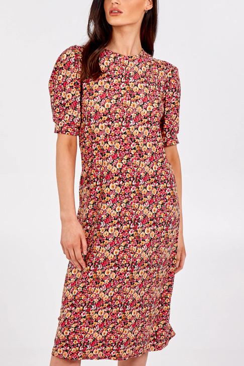 Floral Open Tie Back Midi Dress