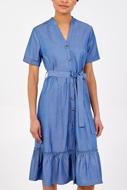 Tiered Shirt Dress - Denim Blue