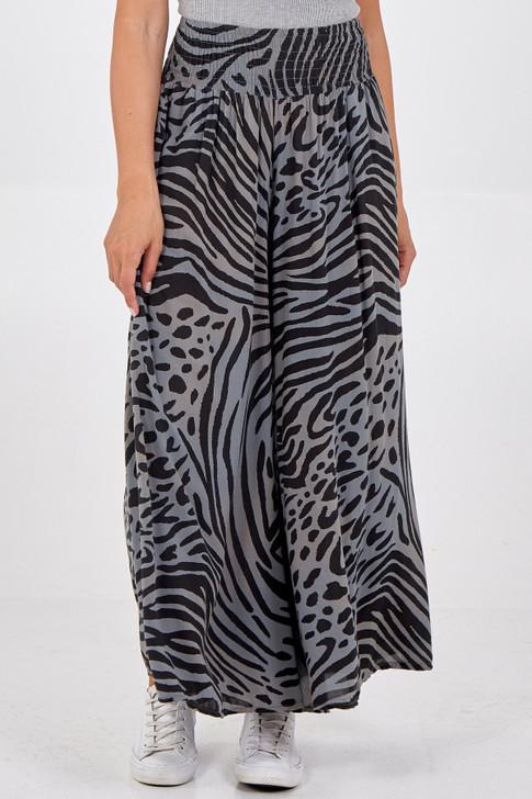 Wide Leg Zebra Print Trousers