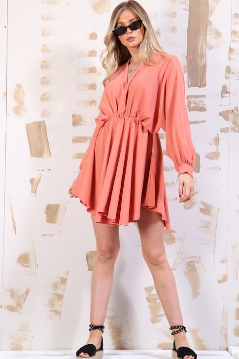 Batwing Mini Dress - Peach