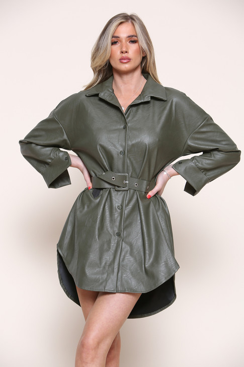 Faux Vegan Leather Belted Shacket - Khaki