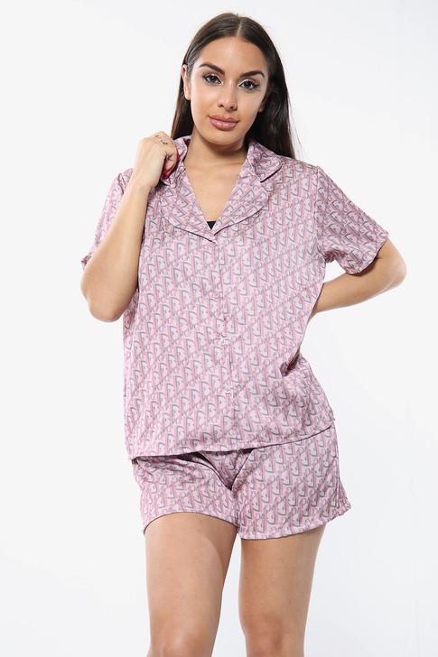 Satin Printed Pyjamas Short Set - Pink